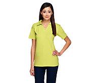 Denim & Co. Essentials Short Sleeve Split Neck Polo Shirt - A215184
