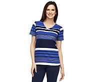 Liz Claiborne New York V-Neck Short Sleeve Striped T-Shirt - A230684