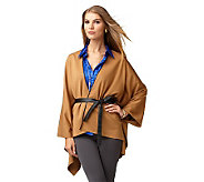 LOGO by Lori Goldstein Cape with Faux Leather Details - A218385