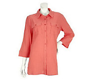 Liz Claiborne New York 3/4 Sleeve Button Front Gauze Tunic - A233485