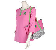Quacker Factory French Knot Tote Bag and Henley Knit Top - A16587