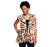 LOGO by Lori Goldstein Zebra Print Vest with Side Pockets - A233687