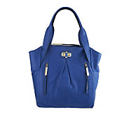 B. Makowsky Glove Leather Tote w/ Zipper Pockets & Turn Lock Closure - A226188