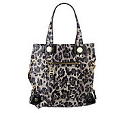 B. Makowsky Animal Printed Crackled Glazed Leather Tote Bag - A216789