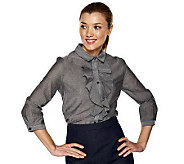 As Is Isaac Mizrahi Live 100Cotton Ruffle Chambray Blouse - A229990