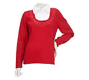 Quacker Factory Rhinestone Trimmed Duet Sweater - A17192