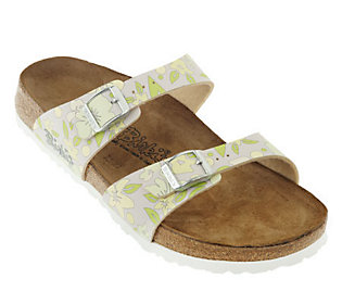 Birkis Multi-Flowers Double Strap Sandals w/ Soft Footbed