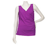 Kelly by Clinton Kelly Ruched Tank with Button Detail - A223893