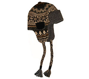 Muk Luks Traditional Knit Button Top Trapper Hat for Men