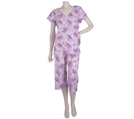 Carole Hochman Berry Ditsy Cotton Jersey 2 piece Capri Set — on ... e5f4d129b