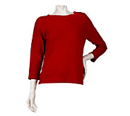 Linea by Louis DellOlio Whisper Knit 3/4 Sleeve Sweater - A221796
