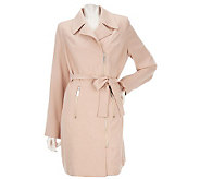 Kris Jenner Kollection Asymmetrical Zip Front Trench Coat - A222796