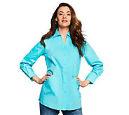 Joan Rivers Modern Classic Boyfriend Shirt with Pockets - A230596