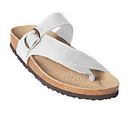 White Mountain Carly Leather Thong Sandals w/Ankle Strap - A18097