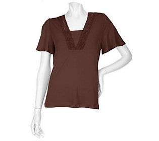 Susan Graver Liquid Knit V-Neck Top with Lace Trim Solid Inset