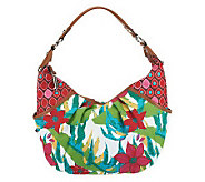 Tignanello Cotton Dual Pattern Printed Canvas Crescent Hobo - A215497