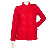 Quacker Factory Mandarin Collar Zip Jacket w/ Soutache Detail - A202598