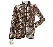 Quacker Factory Sparkle & Shine Animal Print Zip Front Jacket - A226198