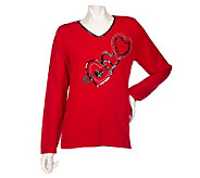 Quacker Factory Midnight Love Heart Embellished V-Neck Sweater - A202599