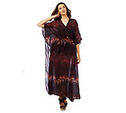 Luxe Rachel Zoe Sheer V-Neck Printed Caftan with Winged Sleeves - A224899