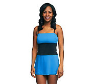 Fit 4 U Hips Two Tone Cinch Swim Dress - A231099