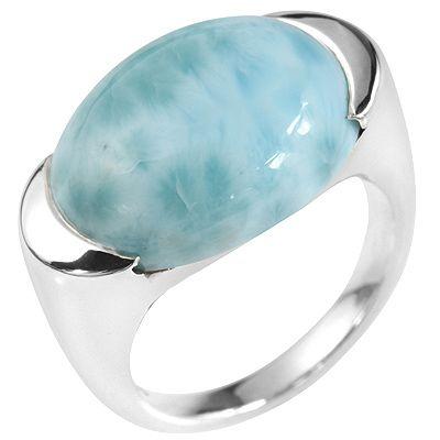 Larimar oval, 18x13mm Ring poliert Silber 925 (QVC)