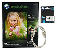 HP Printer Supplies Bundle with Black Ink USB Cable and Photo Paper - E223199