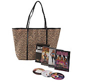 Jazzercise Dance Fitness 3 DVD Set with Leopard Print Tote Bag - F09641