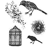 Tim Holtz Cling Rubber Stamp Set - Artful Flight - F244987