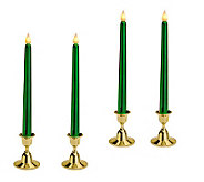 Set of 4 Metallic 10 Flameless Taper Candles w/ Base and Timer - H193800