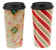 Set of 2 16 oz. Holiday Porcelain Tumblers by Valerie - H197902