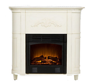 Fulton Antiqued White Electric Fireplace