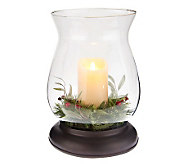 Bethlehem Lights 14 Hurricane & Luminara Candle w/ Greenery - H198012