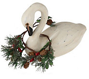Carved Swan with Holiday Garland by Valerie - H193217
