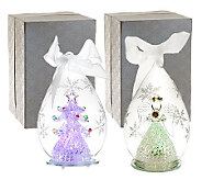 Set of 2 5-1/2 Color Changing Glass Ornaments with Gift Boxes - H196319