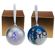 Mr. Christmas Set of 2 LED Illuminated Ornaments with Gift Boxes - H198132