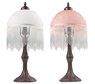 victorian style glass shade with fringe 21 accent lamp. Black Bedroom Furniture Sets. Home Design Ideas