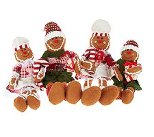 4-piece Sitting Fabric Gingerbread Family by Valerie