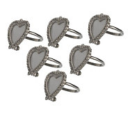 Set of Six Heart-Shaped Frame Napkin Rings by Valerie - H13657