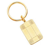 Goldtone Satin Patterned Corner Key Ring - H348763