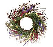 Bethlehem Lights Battery Op. 24 Lavender Wreath w/Timer - H191065