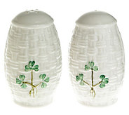 Belleek Everyday Salt and Pepper Shakers with Shamrock Detail - H195271