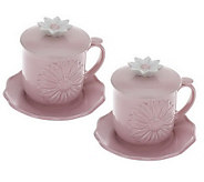 Set of 2 Daisy Teacups with Saucers and Lids by Valerie - H195571