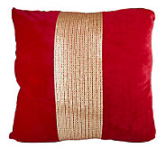 Linda Dano 18 X 18 Matte Velvet Pillow with Sequin Band - H194172