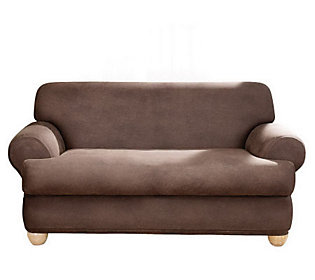 sure fit stretch faux leather t cushion sofa slipcover