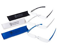 Set of 3 3.0x Reading Glasses w/Matching Case by Lori Greiner - H165079