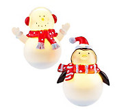 Set of 2 5 LED Rolly Polly Holiday Friends by Roman - H192979