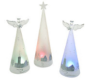 3-piece Illuminating Angels and Christmas Tree Glass Figures - H197580