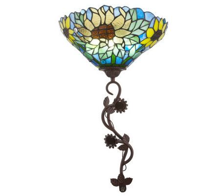 Battery Operated Stained Glass Wall Sconces : Stained Glass Battery Operated Sunflower Wall Sconce QVC.com