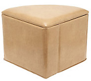 Faux Leather 1/4 Round Fold-Up Storage Ottoman by Valerie - H193886